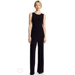 Norma Kamali Black Shirred Waist Jumpsuit
